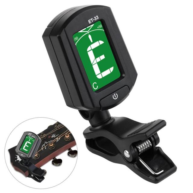 US $3 3 28% OFF|TINKSKY ENO ET 33 Mini Clip on Guitar Tuner Digital LCD  Chromatic Guitar Bass Violin Ukulele Chromatic Bass Violin Tuner(Black)-in