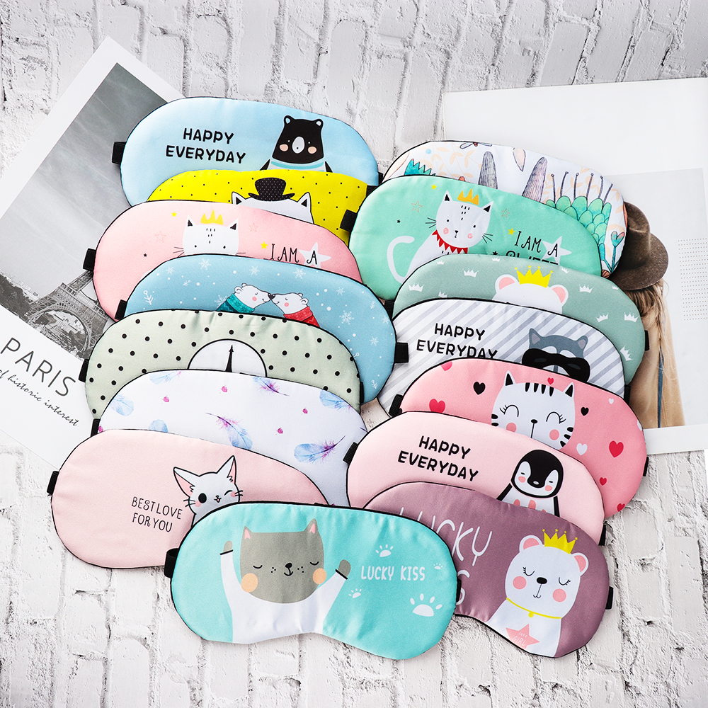 Cute Cartoon Sleeping Mask Eyepatch Eye Cover Cotton Creative Lovely For Eye Travel Relax Sleeping Aid Eye Patch Shading Eye Mas