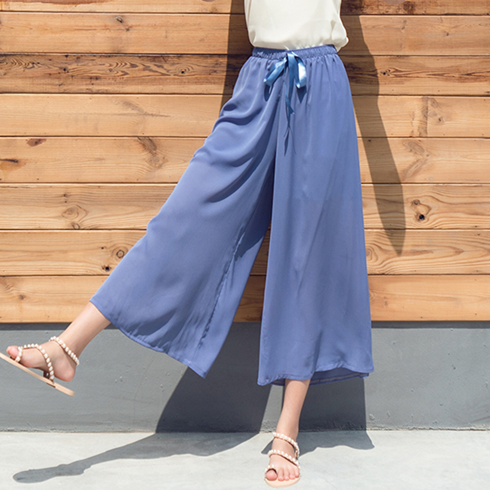 Women Casual Wide Leg Ankle-Length   Pants   2019 Summer Fashion High Elastic Waist Chiffon   Pants   Solid Loose Stretch   Pants     Capris