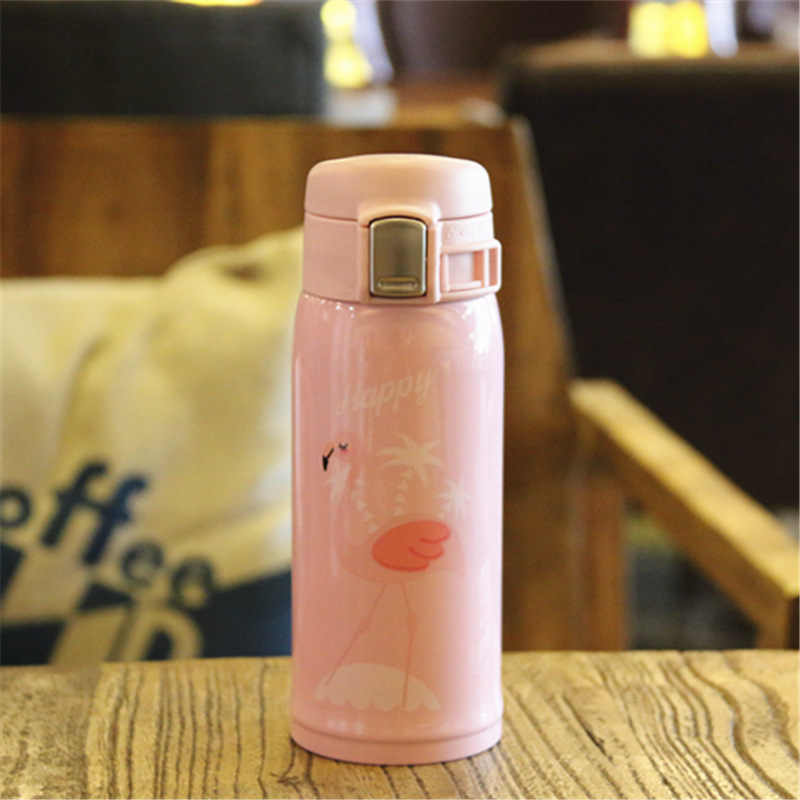 350ML/500ML Brand design Pink Flamingo Stainless steel Vacuum Thermos coffee mug Cute Flamingos water mug