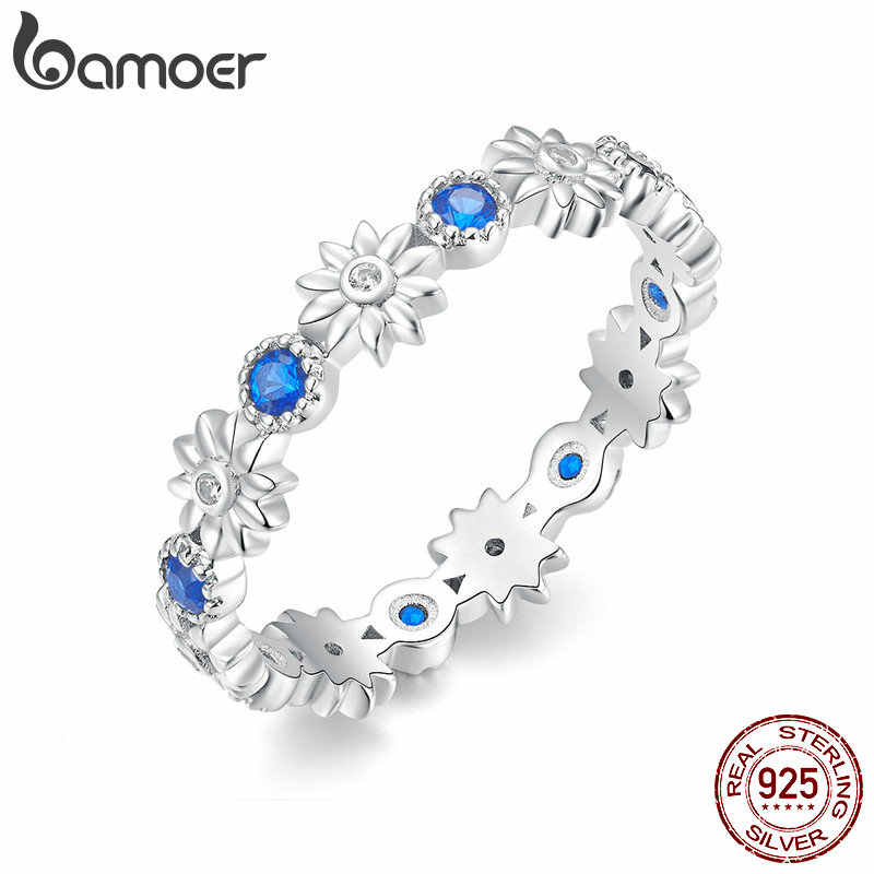 bamoer Blue Daisy Stackable Finger Rings for Women Femme Bijoux 925 Sterling Silver Korean Fashion Wedding Jewelry BSR056