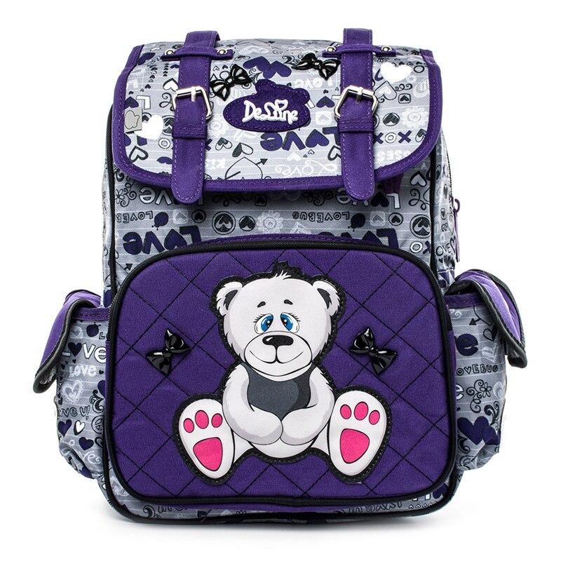 Delune New Cartoon Cute Children School Bags for Girls Boys Orthopedic Backpack Rabbit Bear Backpacks Schoolbag mochila escolar