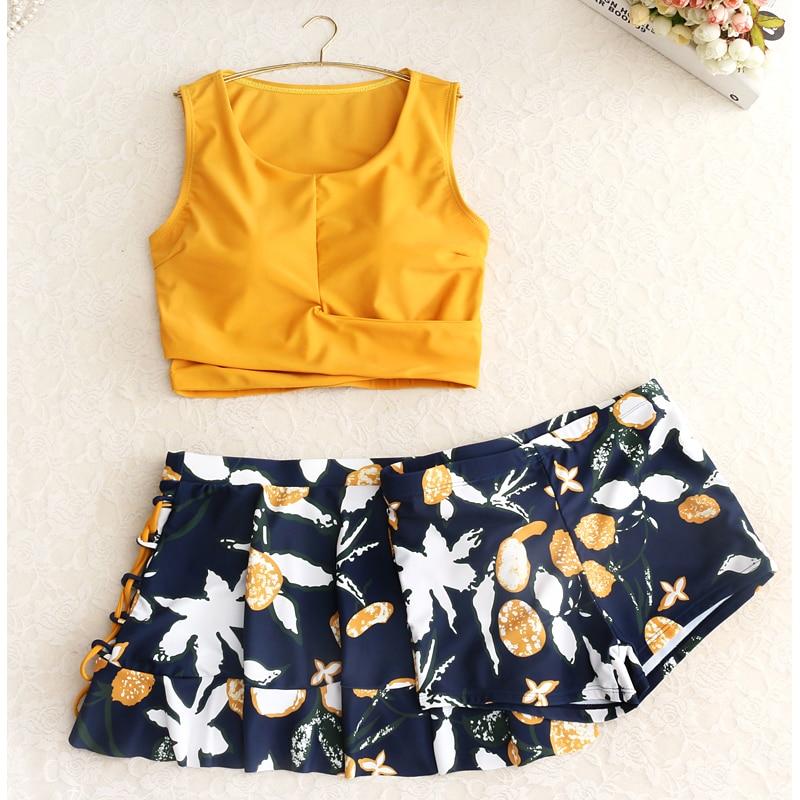 Mujer 2019 Bikini Set Bathing Suit Biquini Swimwear Separate Women's Yellow Swimsuits With Shorts Tankini High Waist Swimming Ma