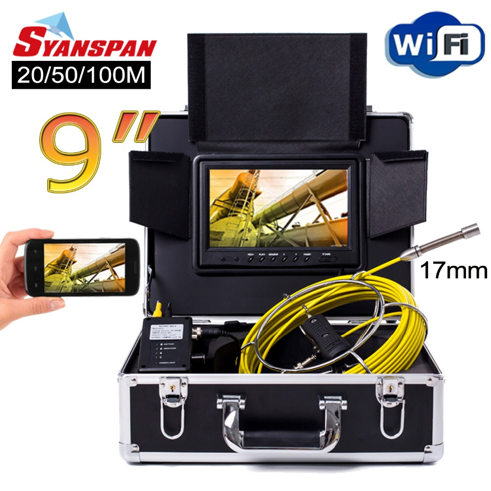 SYANSPAN 9 WiFi 20/50/100M Pipe Inspection Video Camera,Drain Sewer Pipeline Industrial Endoscope support Android/IOS 17mm Cam dhl free wp90 50m industrial pipeline endoscope 6 5 17 23mm snake video camera 9 lcd sewer drain pipe inspection camera system