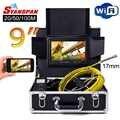Syanspan 9 wifi 20/50/100 m câmera de vídeo de inspeção de tubulação, dreno esgoto pipeline endoscópio industrial apoio android/ios 17mm cam