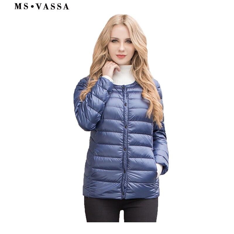 MS VASSA Women   down   jacket 2017 New Spring Winter ladies light   down     coat   round neck quilting jacket plus size 5XL 6XL outerwear