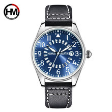 HANNAH MARTIN Top Brand Pilots Watches Men Casual Leather Sport Military Water-Proof Quartz Watch Mens Clock Wristwatches