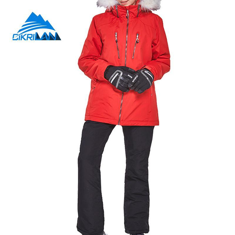 Winter Outdoor Sport Snowboard Ski Suit Women Skiing Waterproof Snowproof Warm Set Fur Collar Cotton Padded Snow Jacket Pants