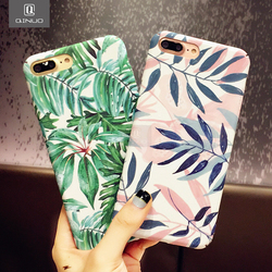 QINUO Fashion Artistic Leaf Phone Case For iPhone 7 6 6S 8 Plus frosted Hard Bags For iPhone X XS Max XR Back Cover Funda Shell