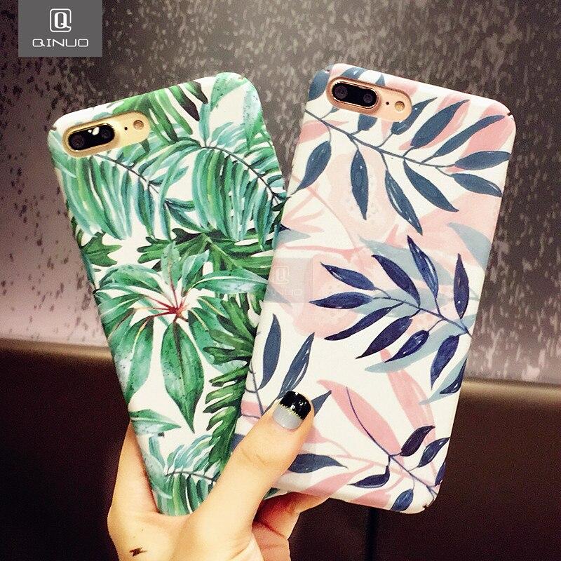QINUO Mode Künstlerische Blatt Telefon Fall Für iPhone 7 6 6 S 8 Plus bereifte Harte Taschen Für iPhone X XS Max XR Zurück Abdeckung Funda Shell