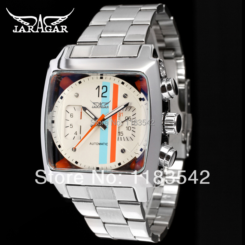 Jargar  Automatic  fashion dress wristwatch silver color with stainless steel  band for men hot selling free shipping jargar jag6902m3s2 automatic dress wristwatch silver color with black leather steel band for men hot selling free shipping