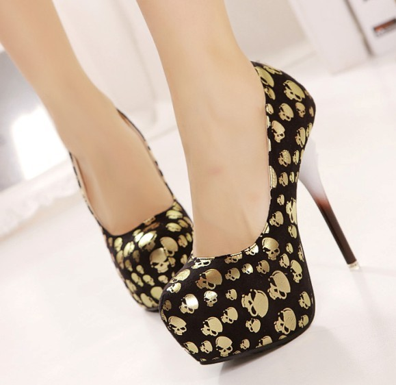 Gold skull single shoes 14cm ultra high heels fashion shoes high ...