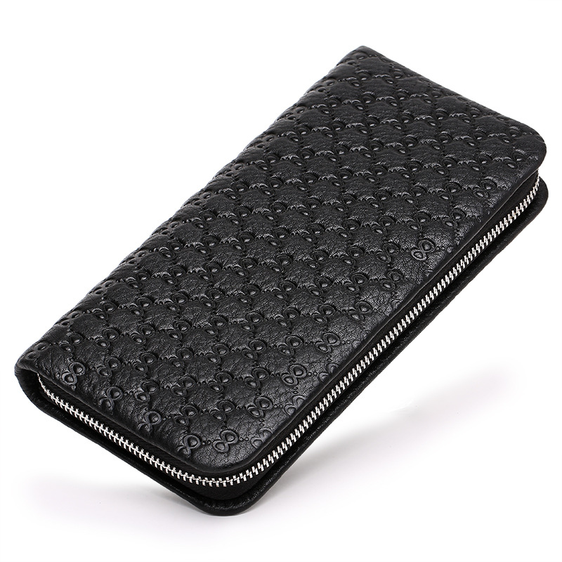 Zipper Mens Wallet Embossing Leather Genuine Designer Male Phone Purse Famous Brand Clutches Wallet Business Long Clutch Bag bvp high end brand 100% full grain cowhide genuine leather mens clutch wallet designer long purse with zipper closure j25