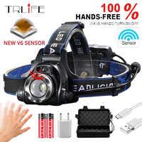15000Lums IR Sensor Headlight USB Rechargeable V6/L2/T6 Induction LED Headlamp Fishing Head Light Lamp Lantern By 18650 Battery