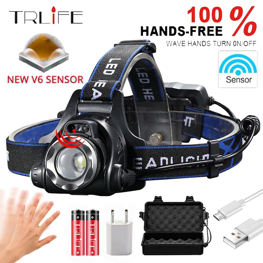 Sensor IR faro USB recargable V6/L2/T6 inducción LED faro cabeza de pesca lámpara linterna por batería 18650