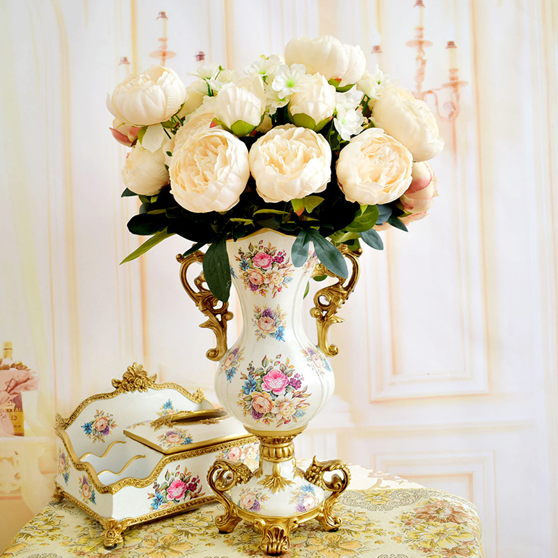 8 92 Fleurs Artificielles Soie Pivoine Bouquets Pour Mariage Table Fete Centres De Table Decorations Pour La Maison Faux The Roses Blanc Rouge