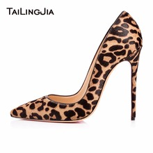 Woman Leopard Pointed Toe Pumps High Heels Faux Suede Stilettos Patent Leather Party Dress Shoes Sexy Fashion Hotsale 2019