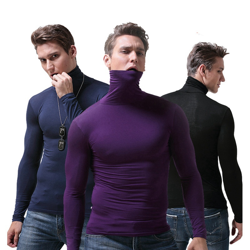 2019 Autumn High Collar Thermal Underwear Men Warm Shirt Long Johns Tops Turtleneck Long Sleeves Men High Elastic T Shirts(China)