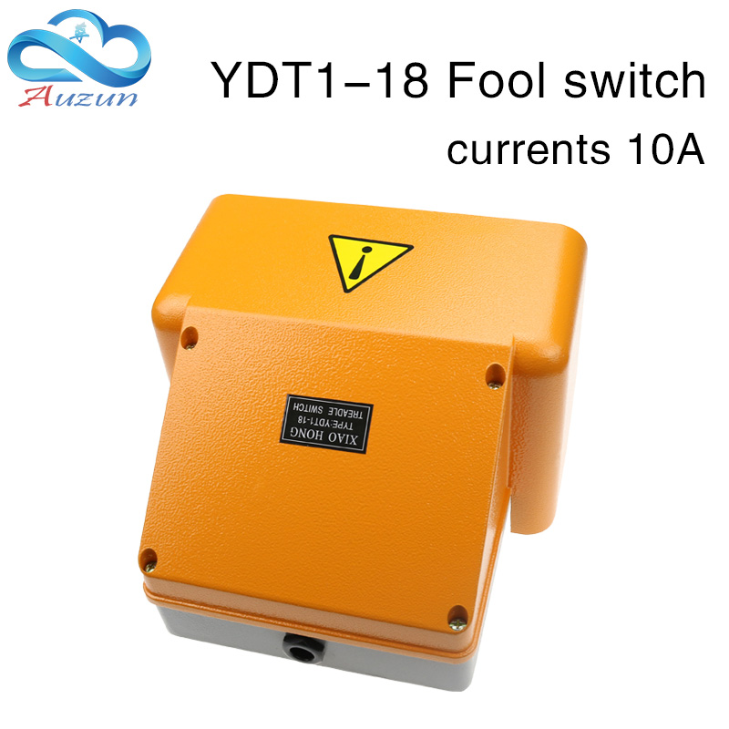 Treadle switch High quality foot switch reset silver point aluminum shell ydt1-18 double full cover yellow foot switch