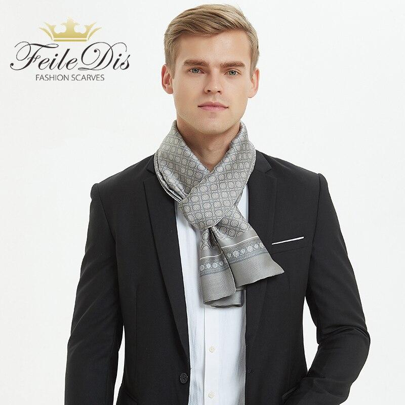 [FEILEDIS]Plaid Men Silk Scarves Fashion Accessories Autumn Winter Male Pure Silk Long Scarves Cravat 170*30cm ASN05