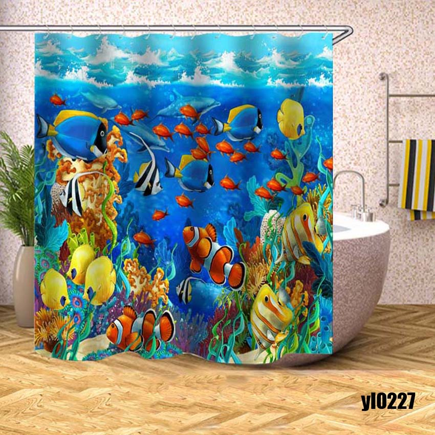 Marine Fish Shower Curtain Sea View Modern Waterproof Bath Curtains for Bathroom Bathtub Large Wide Bathing Cover Rideau De Bain in Shower Curtains from Home Garden