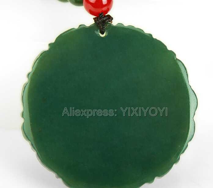 ธรรมชาติที่สวยงามสีเขียว HeTian หยกแกะสลักจีน Dragon Phoenix Amulet Lucky จี้ + ฟรีสร้อยคอใบรับรองเครื่องประดับ