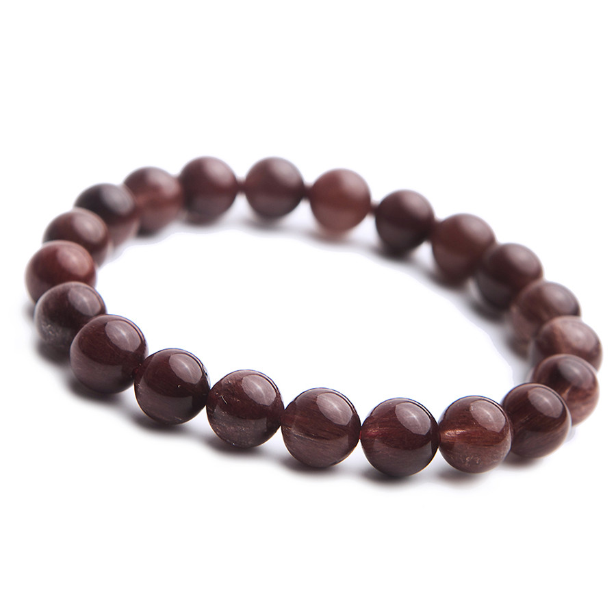 11 mm Brazil Natural Red Rutilated Quartz Crystal Clear Round Beads Jewelry Stretch Bracelet For Women