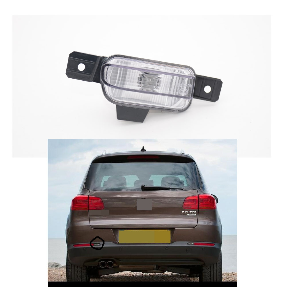 1Pcs Left Side White Tail Bumper Fog Light Rear Fog Lamp With Bulb For Volkswagen VW Tiguan 2012-2014 runmade for 2010 vw transporter t6 t5 before facelift lower bumper grill fog cover fog light lamp set left