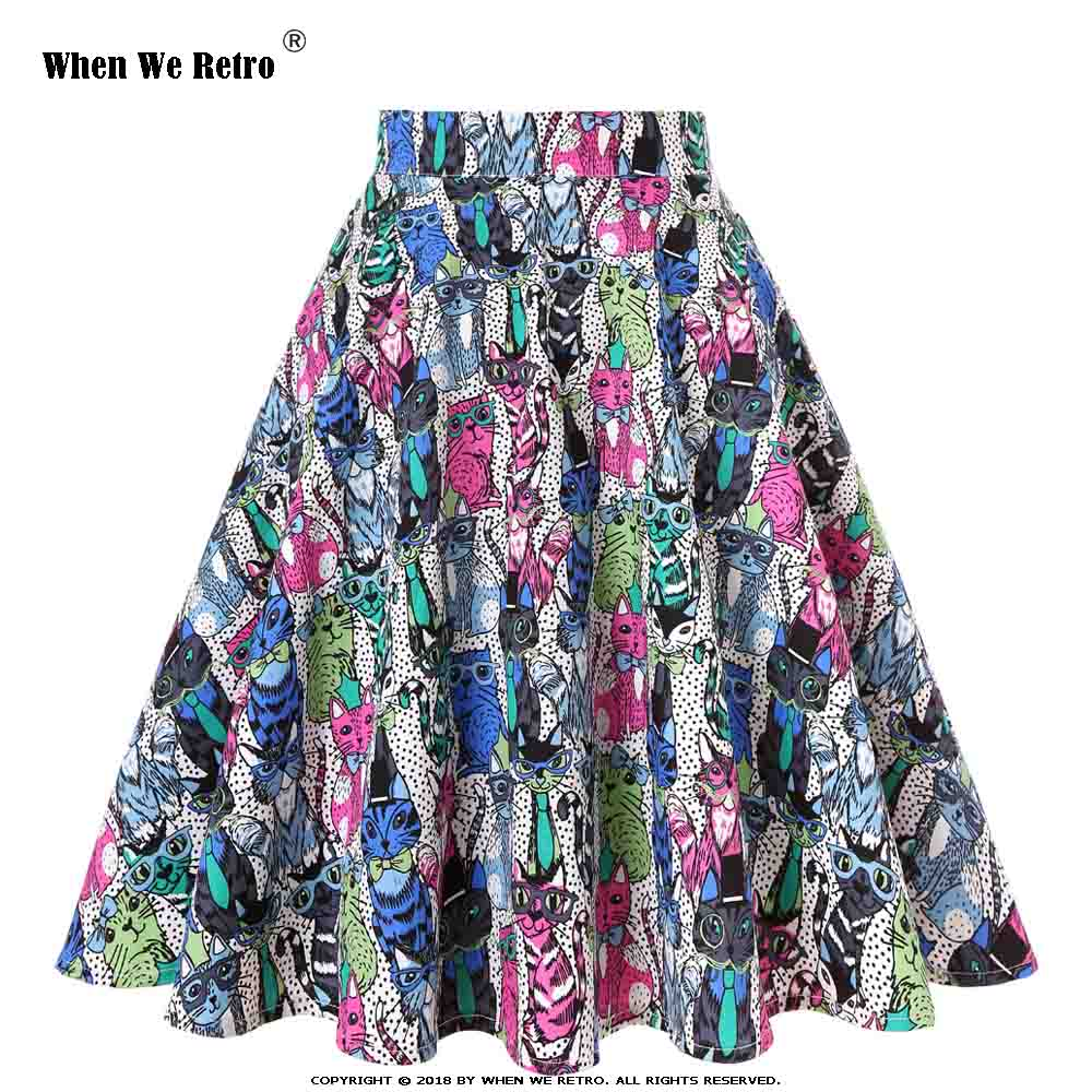 When We Retro 2019 Summer Women Skirt Casual Cotton Colorful Cats Print Polka Dots Swing Vintage High Waist Elastic Midi Skirts