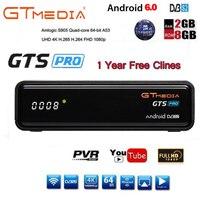 Cccam iptv freesat gts pro receptor DVB-S2 amlogic s905d android 6.0 caixa de tv 2 gb 8 gb + 1 ano cccam tv via satélite receptor caixa de tv