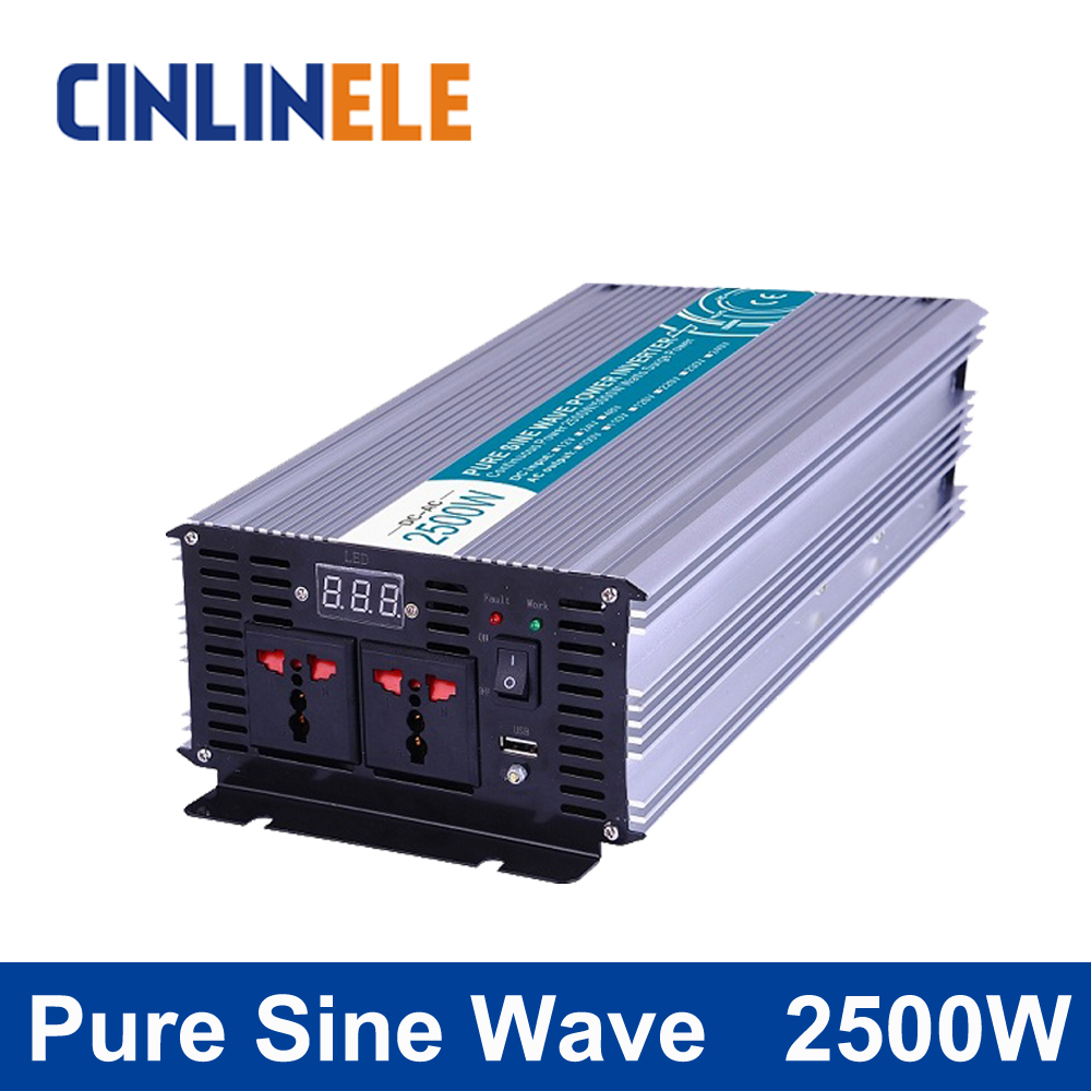 Pure Sine Wave Inverter 2500W CLP2500A DC 12V 24V 48V to AC 110V 220V Smart Series Solar Power Off grid 2500W Surge Power 5000W