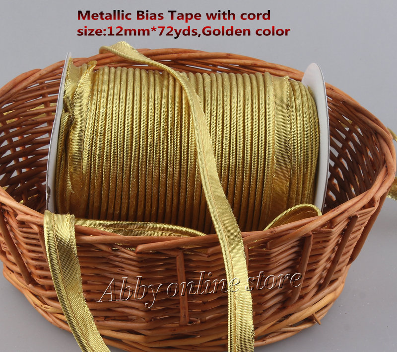 Free Shipping Metallic Bias Tape With Cord,Gold/Golden