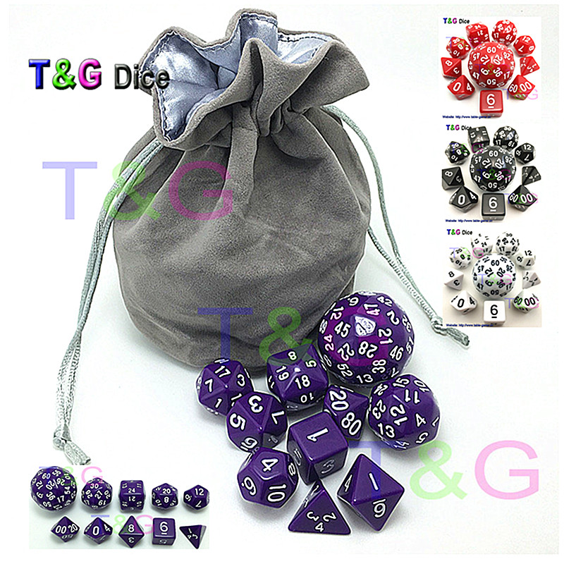 все цены на Hot Sales 10cs Digital Dice Set T&G High quality d4,d6,d8,d10,d%,d12,,d20,d24,d30,d60 with Bag For Rpg role playing Game Gift онлайн
