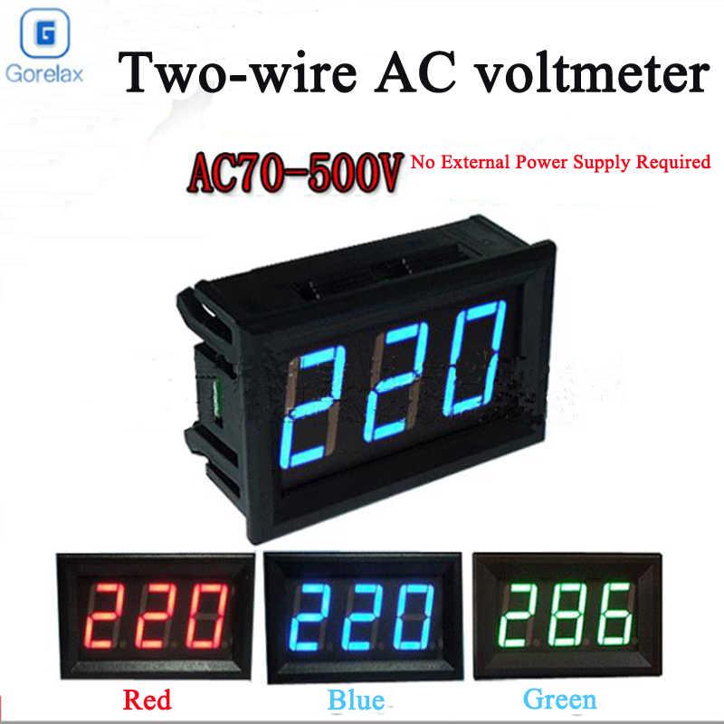 Mini Digital Voltmeter Ammeter AC70-500V แผง Amp Volt แรงดันไฟฟ้า Meter Tester 0.56 นิ้วสองสายจอแสดงผล Lcd โวลต์เมตร