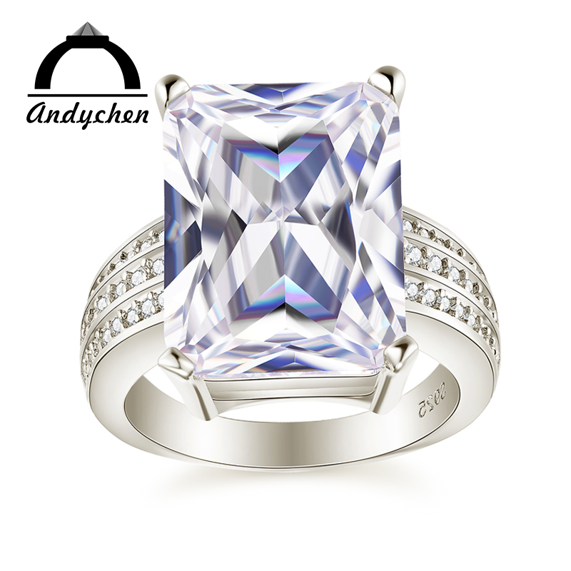AndyChen White Gold Color Rings for Women Engagement Wedding Clear AAA Zircon Jewelry Bague Bijoux Size 5 6 7 8 9 10 11 12 H080