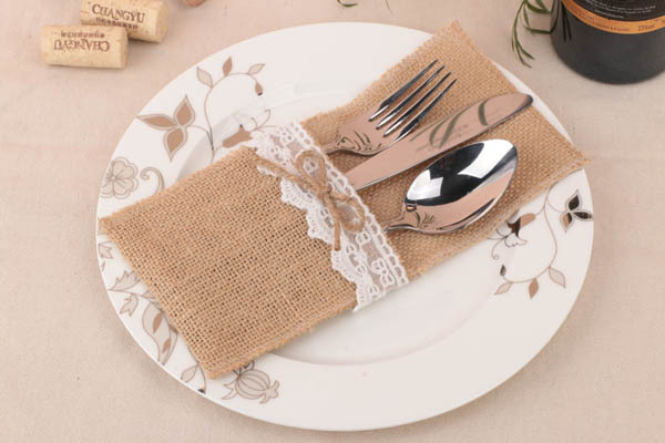 burlap wedding silverware