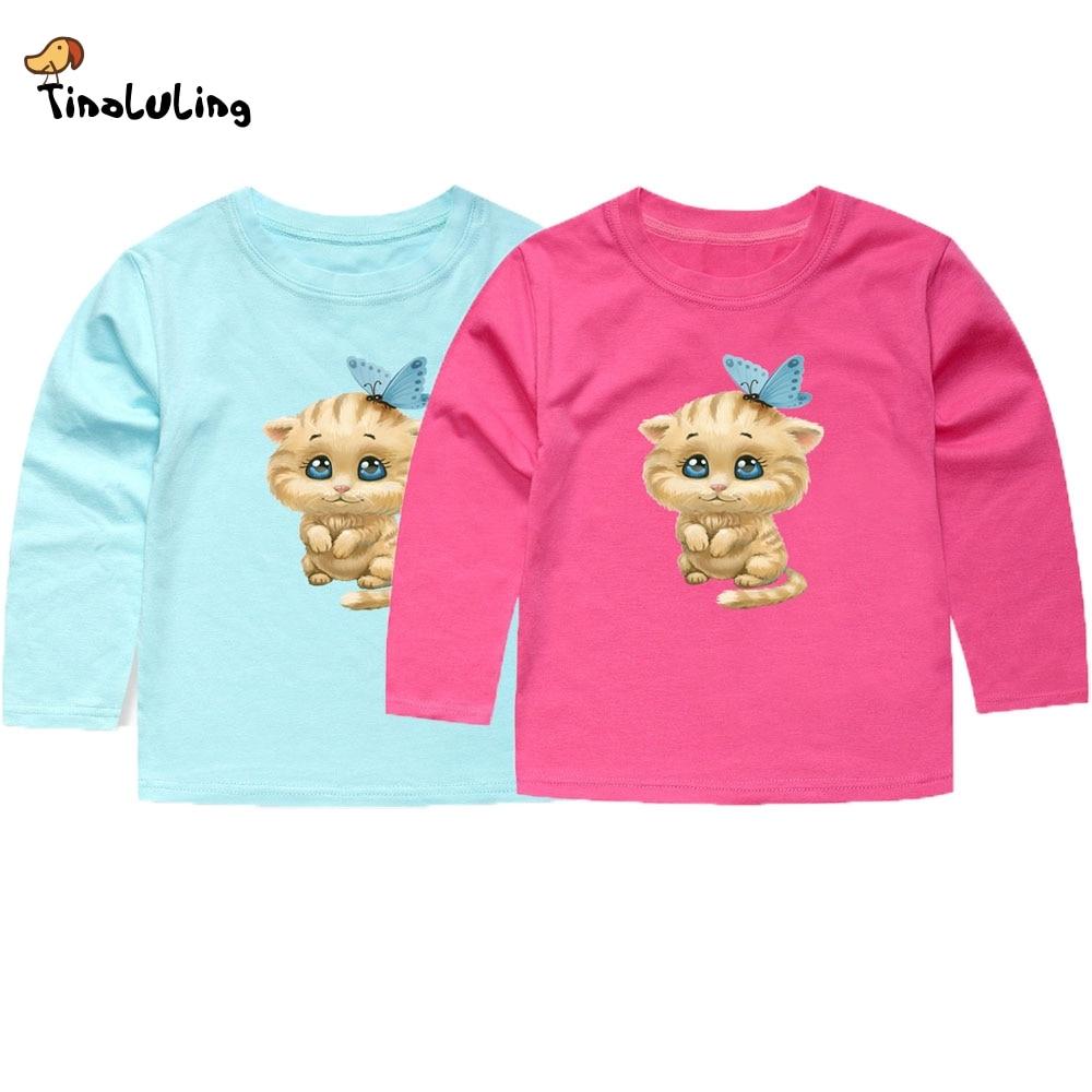 TINOLULING 2018 Full Sleeve Baby Girls Cat T Shirts Children Hello Kitty Lovely T shirt Girls Summer Tops Tees for Boys