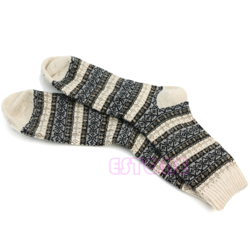 1 Para Männer Warme Winter Dicke Wolle Mischung Angora Kaschmir Casual Kleid Socks-y107