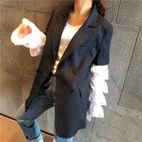 2019 Spring Elegant Women Blazer Cotton Full Striped Double Breasted Notched Button Blazer Women