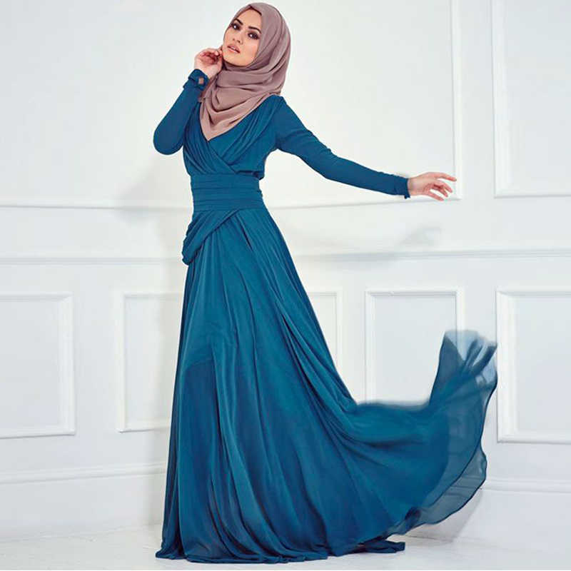 ... robe de soiree Turkish Islamic Clothing Women Party Evening Gown Long  Sleeve Muslim Prom 2018 mother 95aa88ae41ba