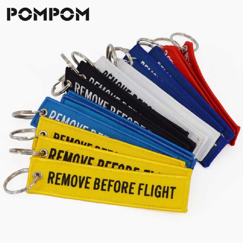 5Pcs/Lot Remove Before Flight Key Chain For Aviation Chain Key Embroidery OEM  Keychain Keyring Key Fobs Key Tag Label Llaveros