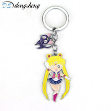 Cute Sailor Moon Figure Toys Anime Sailormoon Cat Model Keychain Pendant Cosplay KeyChains Cartoon Keyring Toy Kids Gift-20 sailor moon anime keychain keyring action figures characters toys 6pcs anime