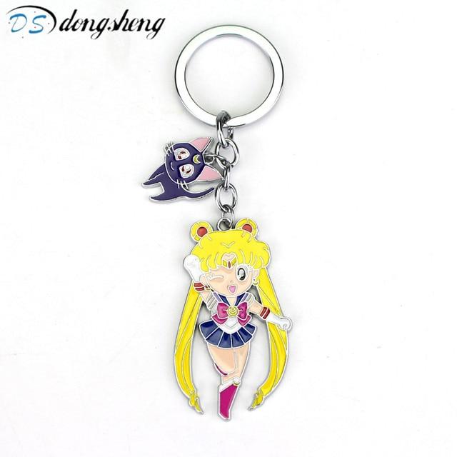 Cute Sailor Moon Figure Toys Anime Sailormoon Cat Model Keychain Pendant Cosplay KeyChains Cartoon Keyring Toy Kids Gift -50