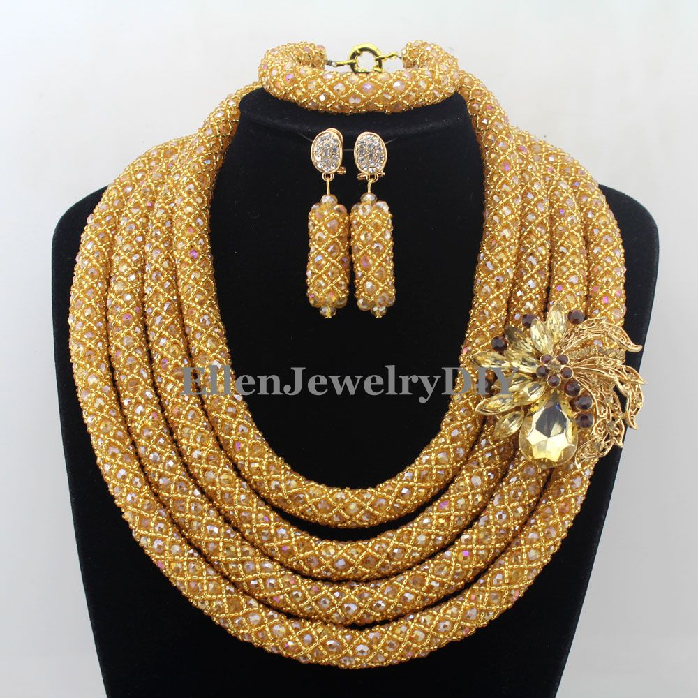 цена Stylish Nigerian Wedding African Beads Jewelry Set Handmade Indian Dubai Bridal Necklace Sets Free Shipping W12652 онлайн в 2017 году