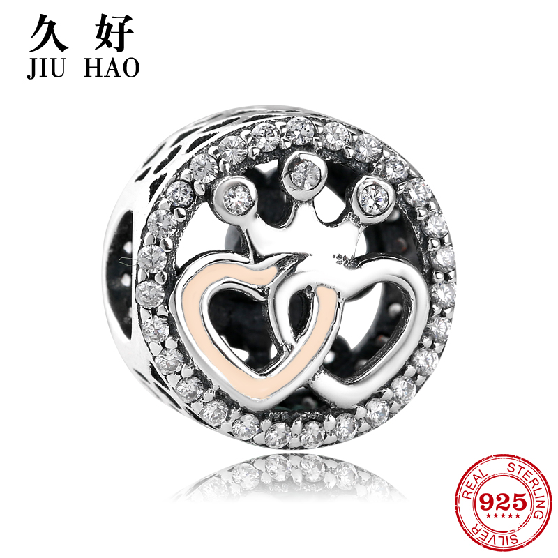 925 Sterling Silver two hearts and imperial crown beads 2018 Valentine's Day Gift Fit Original Pandora Charms Bracelet Jewelry