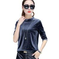 Pearl Beading Blouses 2017 Autumn Women Velvet Blouse Long Sleeve Casual Shirt Women Tops O Neck