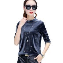 Pearl Beading Blouses 2018 Autumn Women Velvet Blouse Long Sleeve Casual Shirt Women Tops O-neck Elegant Ladies Camisas Mujer