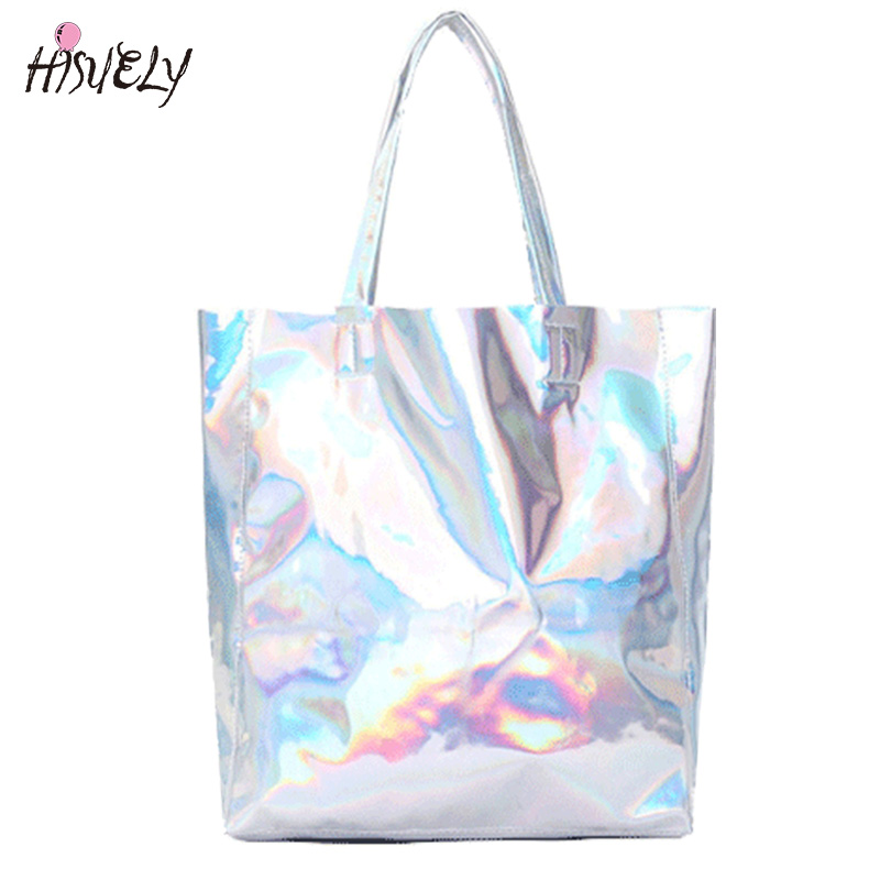 2017 New Women Handbag Laser Hologram Leather Shoulder Bag Lady Single Shopping Bags Large Capacity Casual Tote Bolsa Silver gete new python leather women handbag lady real snake dinner women purse large capacity grab bag girl women cluth bag wallet