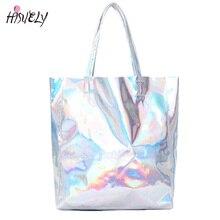 2017 New Women Handbag Laser Hologram Leather Shoulder Bag Lady Single Shopping Bags Large Capacity Casual Tote Bolsa Silver