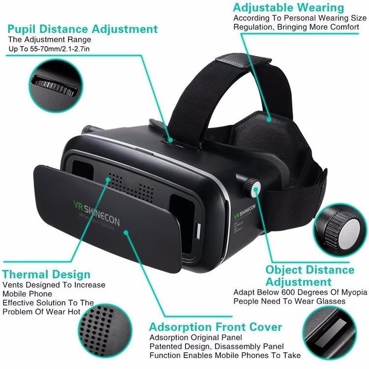 Originais VR shinecon 6.0 versão fone de ouvido headset óculos de realidade  virtual óculos 3D capacetes smartphone pacote Completo + controlador em  Óculos ... 1055bf30cb